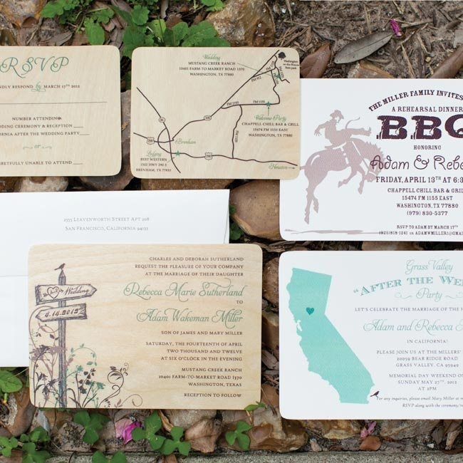 To introduce their rustic theme, the couple printed their invitations on thin sheets of wood.