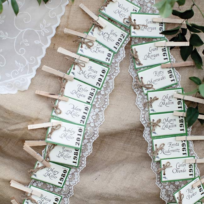 Rustic cards clothespinned to strips of lace channeled a natural, but elegant vibe.
