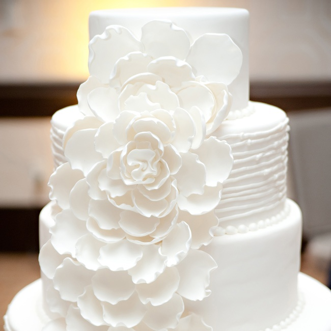 A white sugar flower cascaded down the couple's elegant cake.
