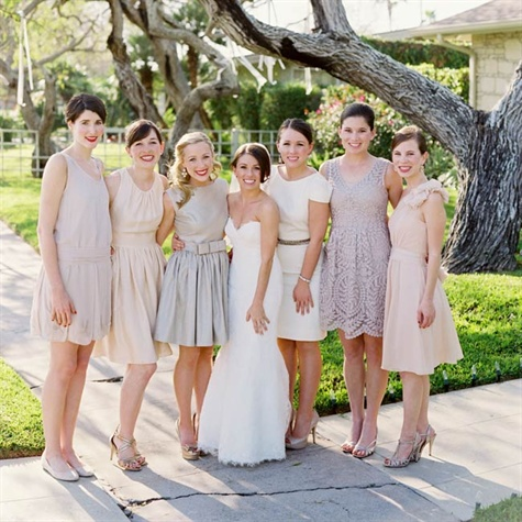Textured Bridesmaids' Dresses