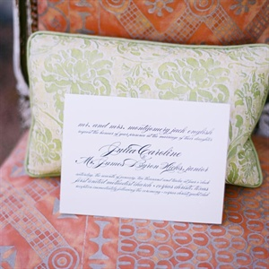 The classic invitations were printed with an elegant script font