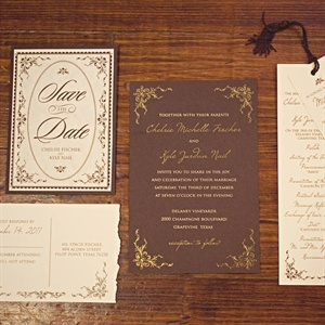 Like the save-the-dates, the invitation suite's gold script font and rich tones helped carry out the library theme.