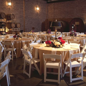 Delaney Vineyards' cavernous brick barrel room provided an intimate space for dinner.
