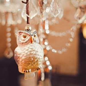 Stephanie's grandmother had collected owl trinkets, so the couple honored her by hanging a few from the centerpieces.