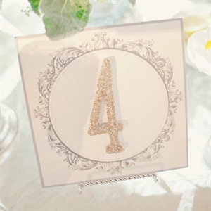 Stephanie coated wooden numbers with glitter and attached them to pretty cards with a similar design as the invitation.