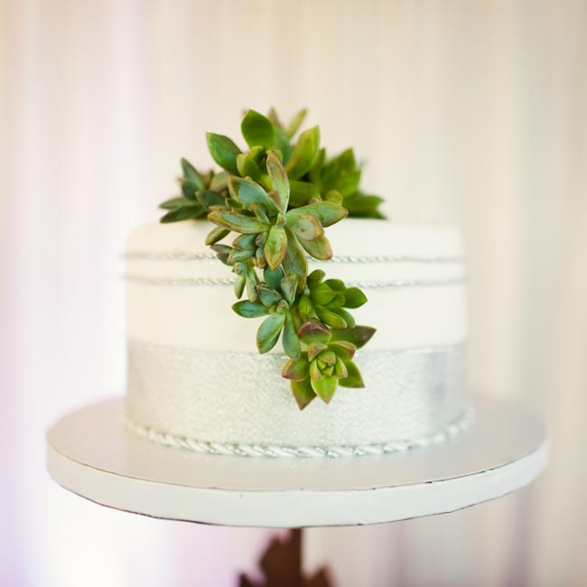 Like everything else at Melissa and Sean's wedding the cake was simple and understated. The small round cake was decorated with silver frosting and a succulent topper tied in the dessert theme.