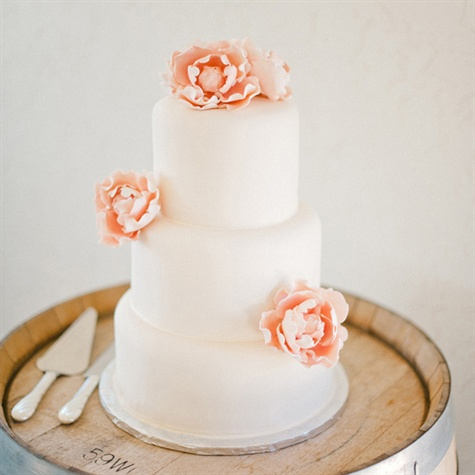 Simple Round Cake with Sugar Flowers