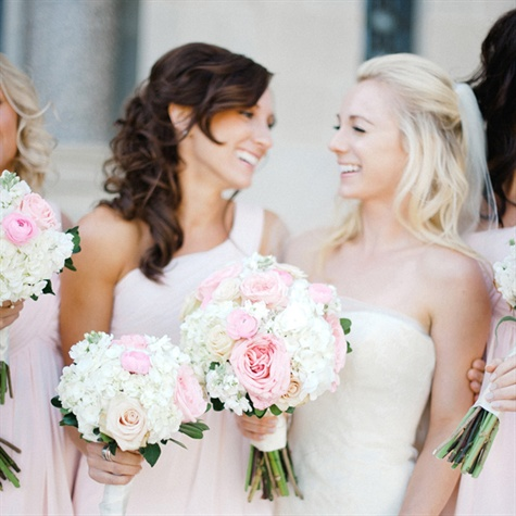 Pink and White Bridal and Bridesmaid Bouquets