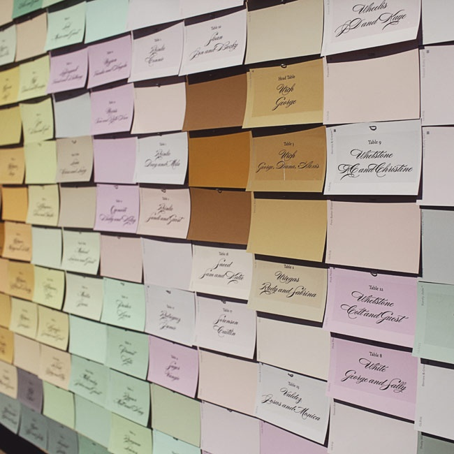 Guests' names and table numbers were written on paint chips from a hardware store and displayed in a watercolor-like collage.