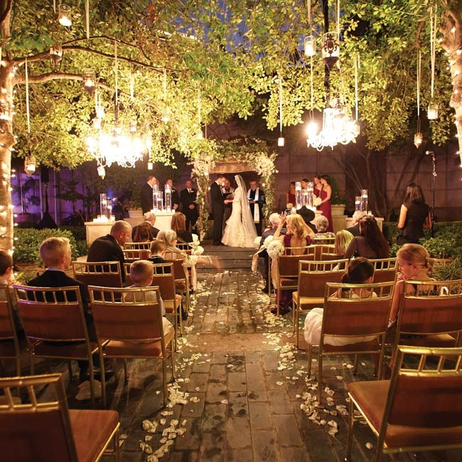 Timed to occur during sunset, the ceremony had an ethereal glow, thanks to hanging crystal chandeliers, candles and string lights.