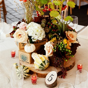 "For the centerpieces, Haley and Ryan were inspired by their love of history and the New England farm lifestyle. The couple purchased antiques from all over New Hampshire that would fit our rustic wedding theme. The table numbers were 4"" high pine logs cut at a 45-degree angle to display the table number in black ink.  They chose items that they wou ..."