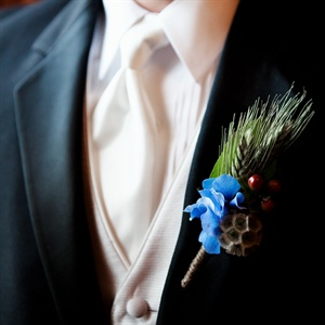 Blue Hydrangea Boutonniere