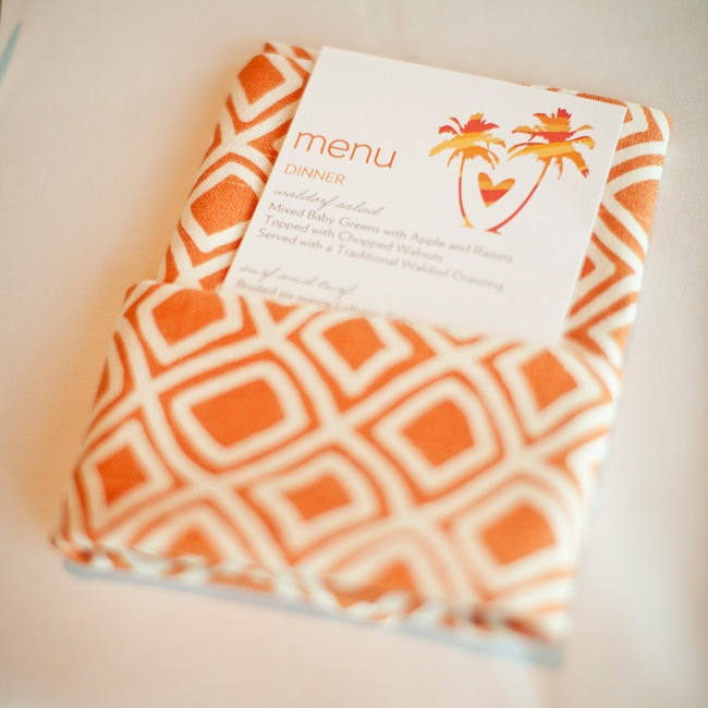Bright menu cards were tucked into vibrant geometric-designed napkins.