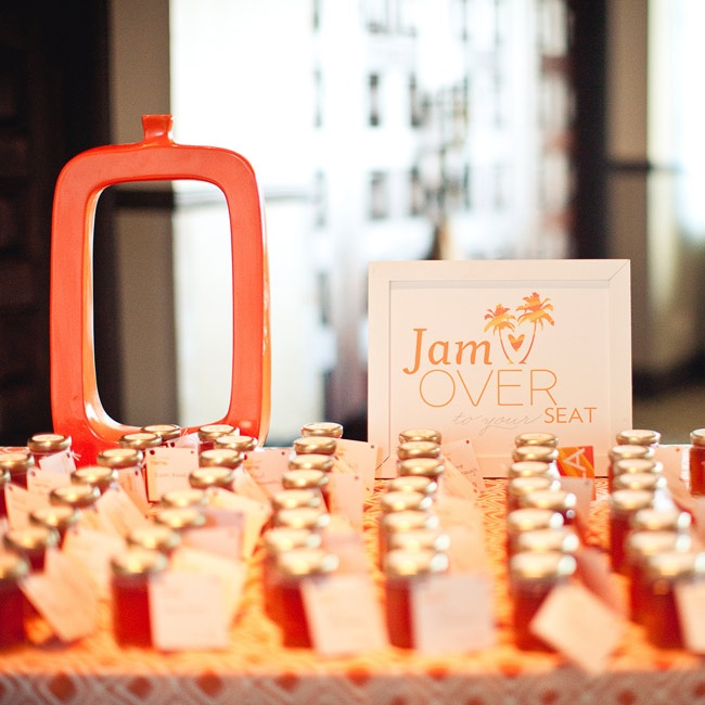 Aaron's aunt made peach jam in little jars for everyone -- they also served as guests' escort cards.