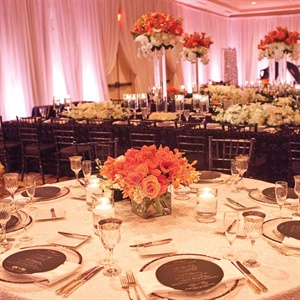 White draping and uplighting along the perimeter of the room created a chic evening atmosphere.