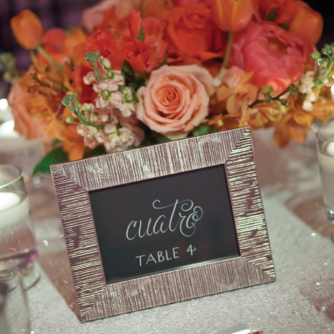 As a nod to Martin's Mexican heritage, the table numbers were in Spanish.