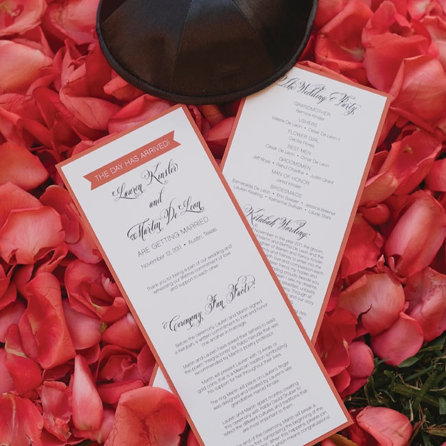 """Insider info"" about the couple, the ketubah wording and details about the day were printed on rectangular pamphlets."