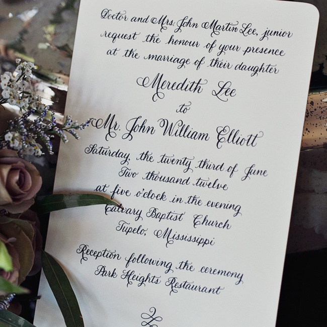 Meredith hired a calligrapher to hand write her wedding invitation and then submitted the proof as artwork to have it printed for all the invitations.