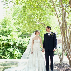 The Bride wore an ivory beaded and embroidered silk organza gown by Lazaro with Chantilly lace insets.