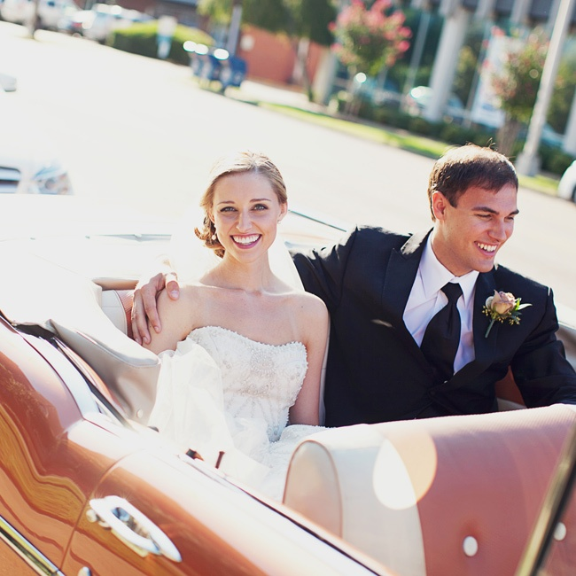 The couple left in a 1957 Chevrolet convertible after a grand exit.
