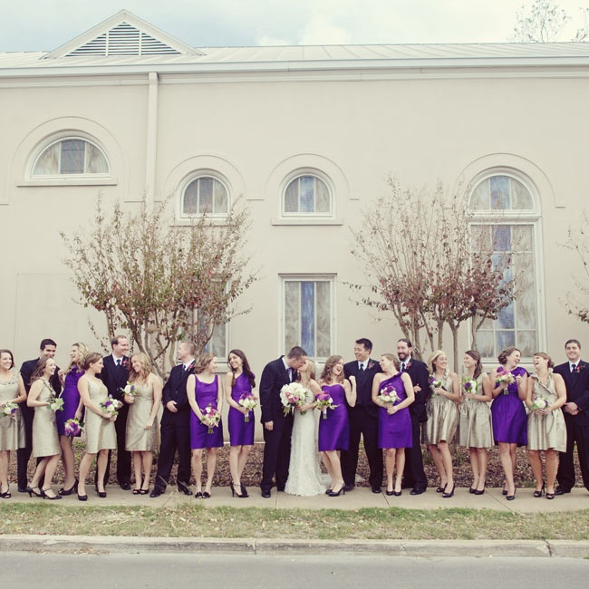 The bridesmaids were dressed in a rich purple hue, while the house party wore champagne. All their dresses were made from dupioni silk fabric for a consistent look.