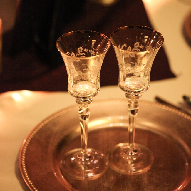 The mother of the bride found these antique toasting glasses that fit just perfect with the theme of the wedding.