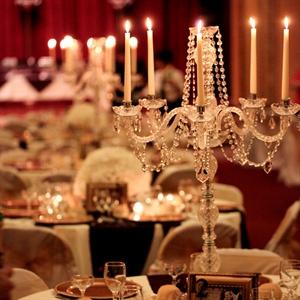The crystal candelabras at the reception were the bride's favorite. She wanted something that was elegant as well as taller to balance out the high ceilings of the venue.