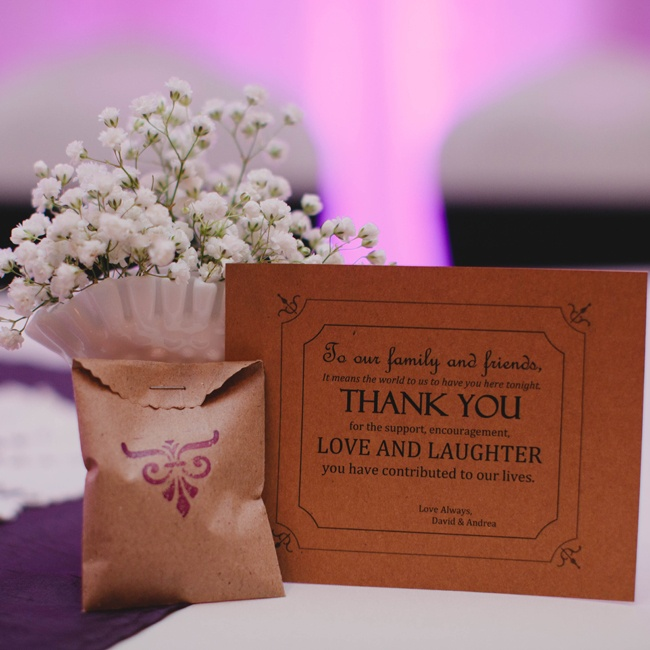 Andrea and David placed thank you cards at each place setting along with a mini brown bag of their favorite candy, chocolate covered raisins and Reese's Pieces.