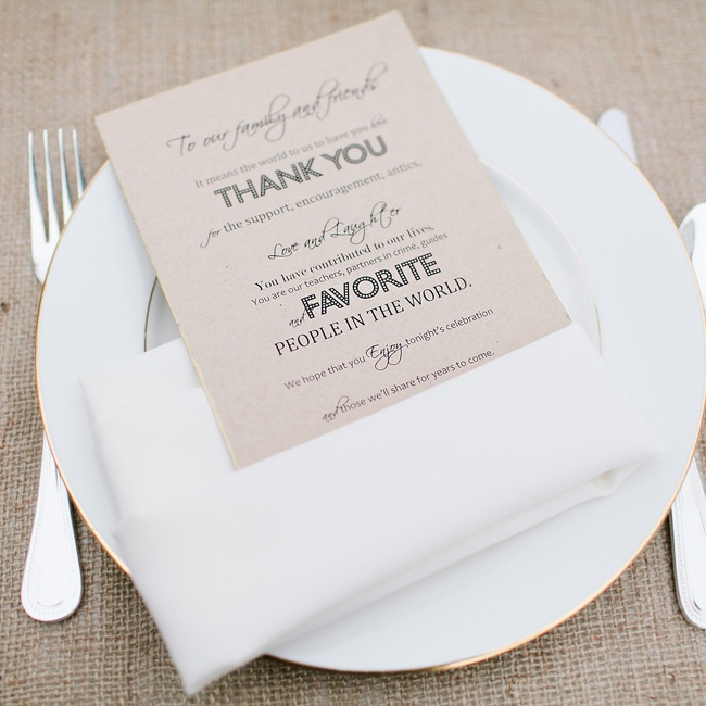 Silvia printed the thank you cards placed at each guest's seat and dipped the edges in gold paint to match the gold-rimmed china.