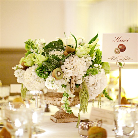 White and Green Reception Centerpieces