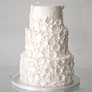 Teresa chose a simple 3-tiered buttercream cake with shimmery petals scattered on every tier.