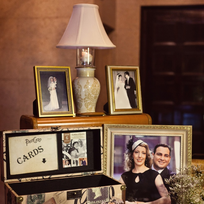 The couple displayed their parents' wedding photos at the reception.