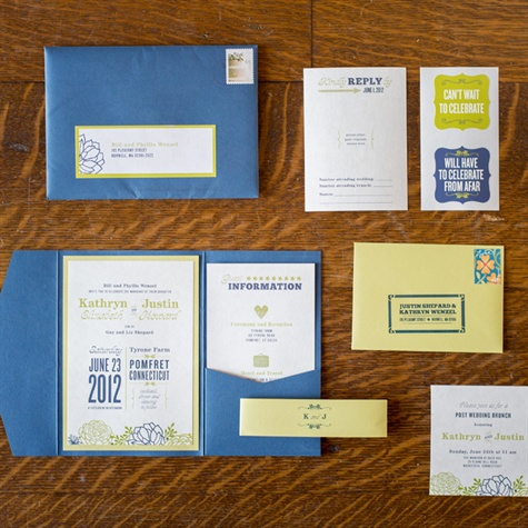 Blue and Green Invitations