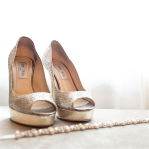Dana had looked at a pair of Jimmy Choo's that she wanted to wear on her wedding day and coincidently a friend of hers wore the same exact pair out one night and they happened to be Dana's size she immediately knew she had found her something borrowed.