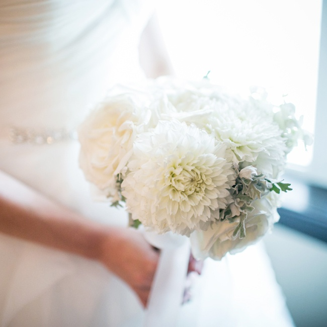 Dana let the florist make the final decision on her bridal bouquet after sending her a couple of ideas she found.
