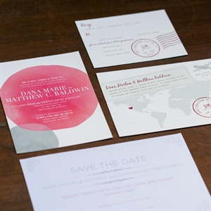 Dana and Matt set the pink ombre and travel theme to their wedding from the beginning with their wedding stationery.