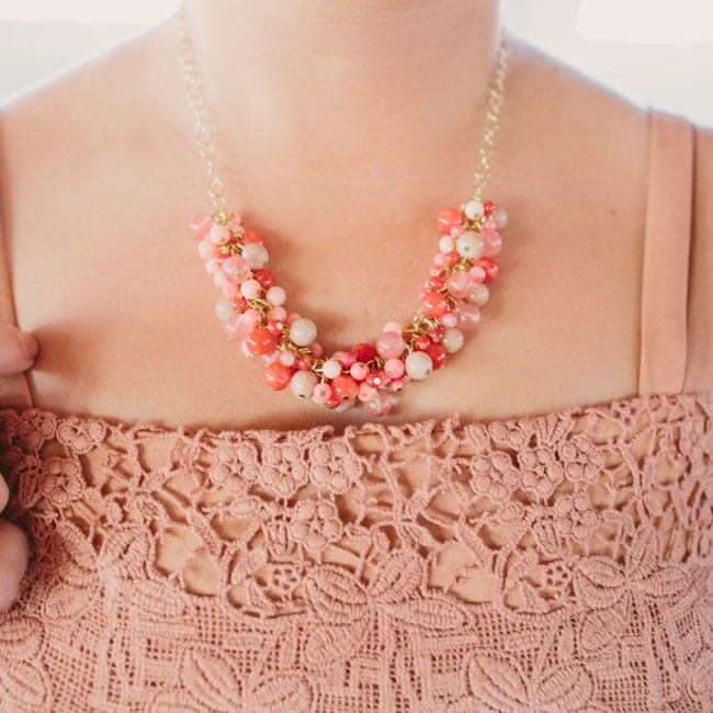 One of Megan's bridesmaids made these peach-and-coral beaded necklaces for each of the girls to wear.