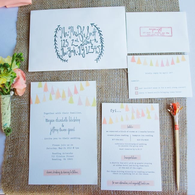 Jeff actually came up with the idea to use garlands as an invite design element.