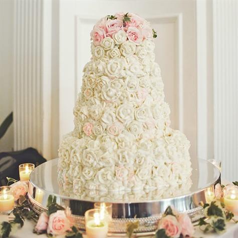 Blush and Ivory Rosette Cake