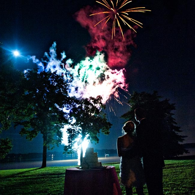 Samantha's parents surprised the couple and their guests with a fireworks show over the Delaware River.