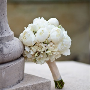 Kathleen carried white peonies, hydrangeas and roses for a lush bouquet.