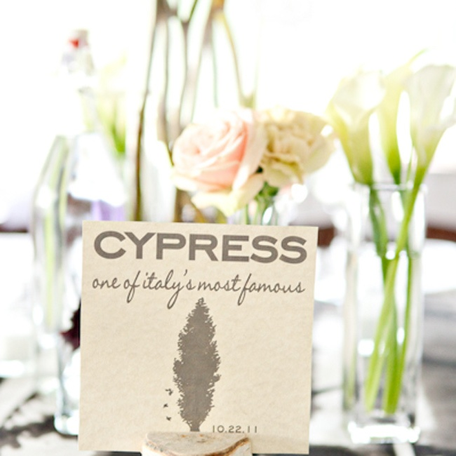 Along with the table names, guests were greeted by small bunches of roses and calla lilies on each table.