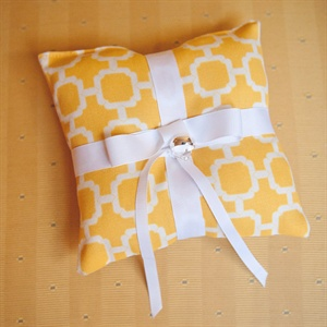 Geometric Yellow Ring Pillow