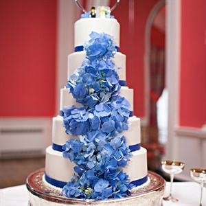 Tall White Cake with Blue Hydrangeas
