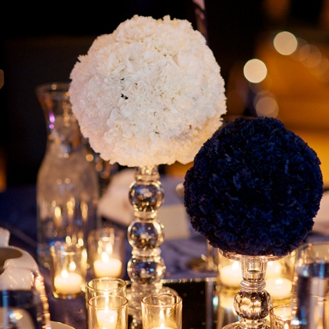 White and Navy Pomander Centerpieces