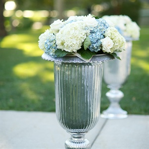 Silver Urn and Hydrangea Ceremony Decor