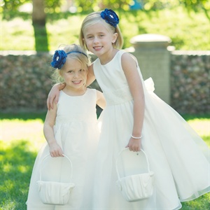 Flower Girls with Navy Headbands
