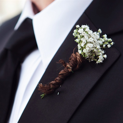 Rustic Baby's Breath Boutonniere