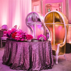 Kelly and Andrew sat at a glam sweetheart table at the head of the reception space.
