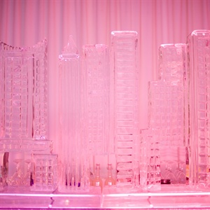 The couple's ice martini bar was designed to look like the skyline of New York City, where the couple lives.